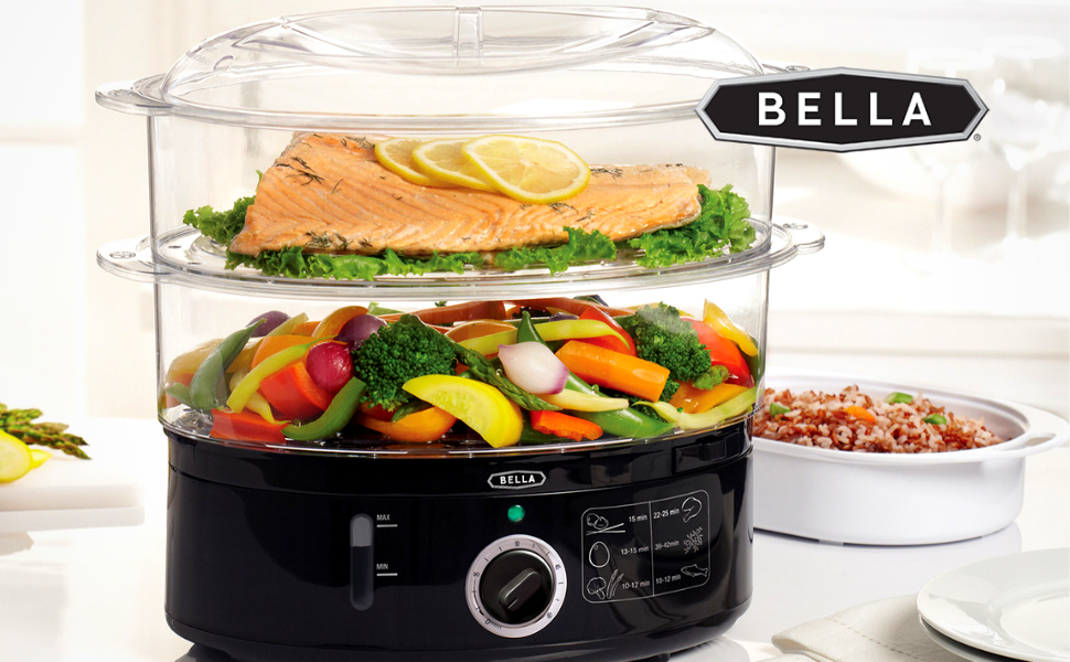BELLA two tier food steamer steam easy clean up vegetable safe fast healthy cooking best cook tasty