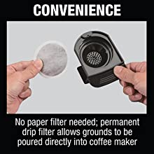 convenience no paper filter needed permant drip filter grounds poured directly coffee maker