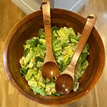 Salad bowl, great for serving, bowl, wood bowl, wood serving storage bowl, cherry stain, bowl