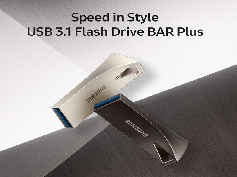 NEW Samsung BAR Plus 256GB 300MBs USB 3.1 Flash Drive Champagne Silver MUF-256BE
