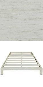 White Metal Platform Bed Frame