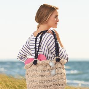 grosseries or beach bag crochetted with sugar n cream yarn