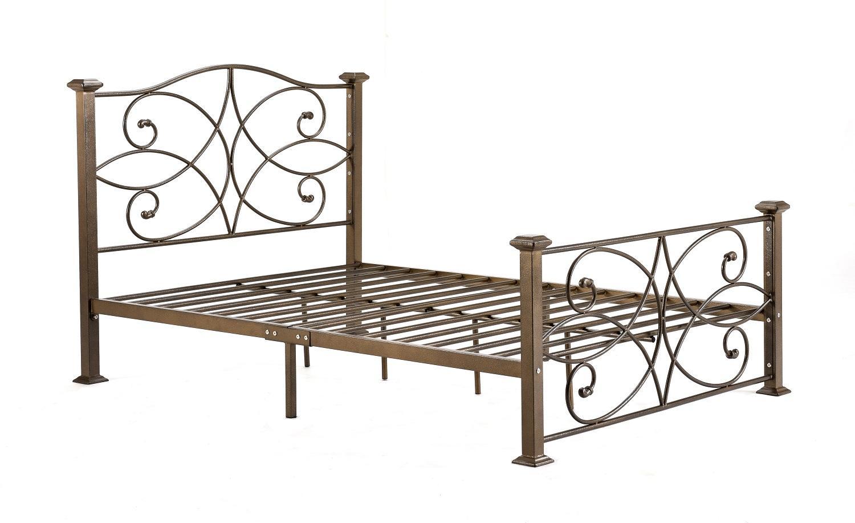 hodedah hi824 gold import metal bed queen home kitchen. Black Bedroom Furniture Sets. Home Design Ideas