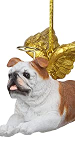 Design Toscano Honor the Pooch: Bulldog Holiday Dog Angel Ornament