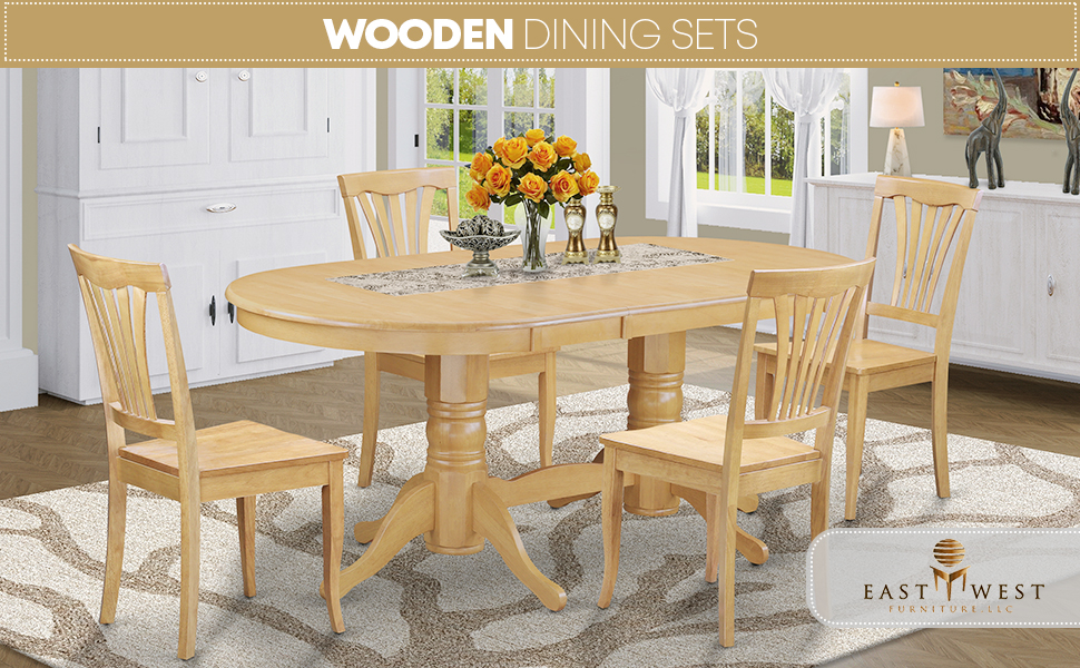 Amazon Com 7 Pc Dining Room Set Table With Leaf And 6 Dining Chairs Table Chair Sets