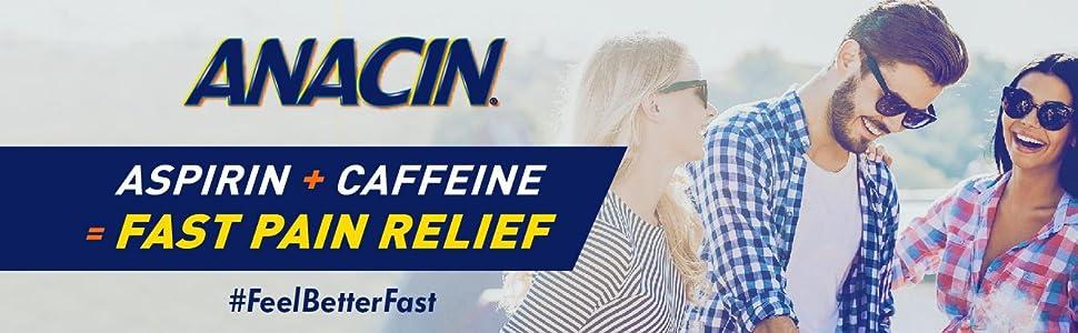 Aspirin + Caffeine = Fast Relief