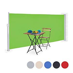 Relaxdays, Verde Toldo Lateral Enrollable, Protección Solar, Panel de privacidad, 160 x 300 cm: Amazon.es: Jardín