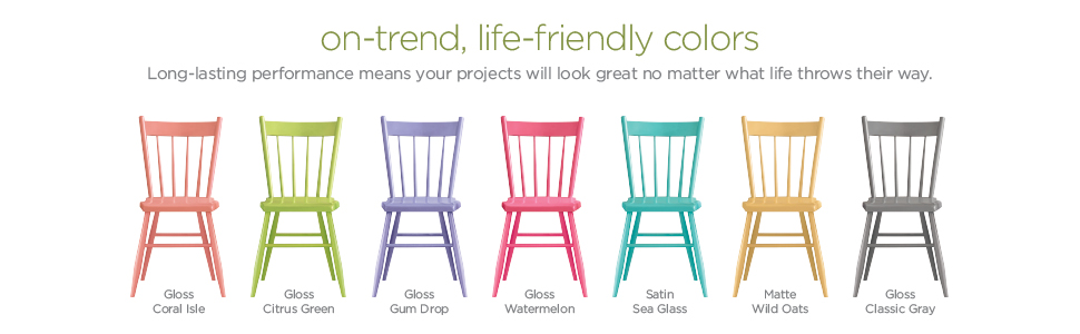 On-trend, life-friendly colors. 7 wooden kitchen chairs sprayed painted in various colors.