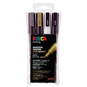 2 PC3M Pointe Fine avec Livret de 25 Ateliers Cr/éatifs POSCA Coffret Mes Premiers 6 Marqueurs Peinture /à Base Eau Inodores Dont 4 PCM1C Pointe Extra Fine Uni Mitsubishi Pencil