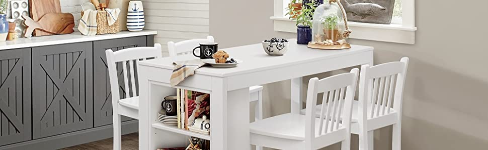 jofran furniture farmhouse kitchen dining table with barstool set
