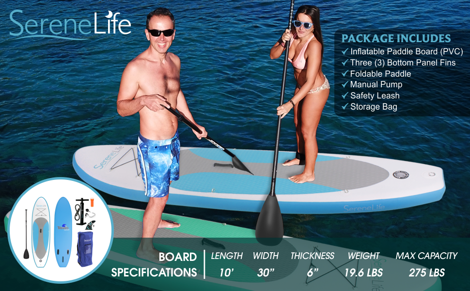 sereneLife inflatable stand up paddle board main banner 2