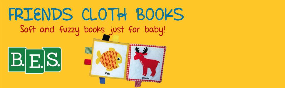Friends Cloth books, soft books, fuzzy books, baby books, elephant, giraffe, penguin, duck