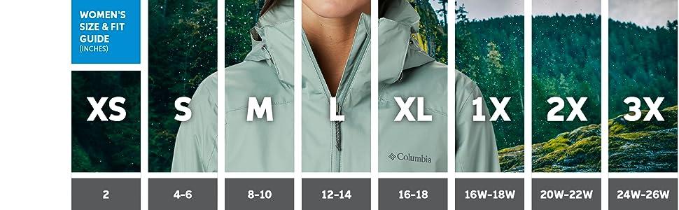 Women's rain jacket sizing