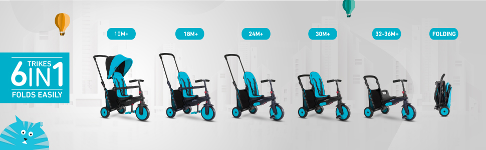 smart trike 6 in 1 grows with your baby from a push trike to a tricycle for 2 year old.