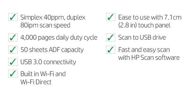 simplex duplex scan auto document feeder usb wifi touch panel fast easy software