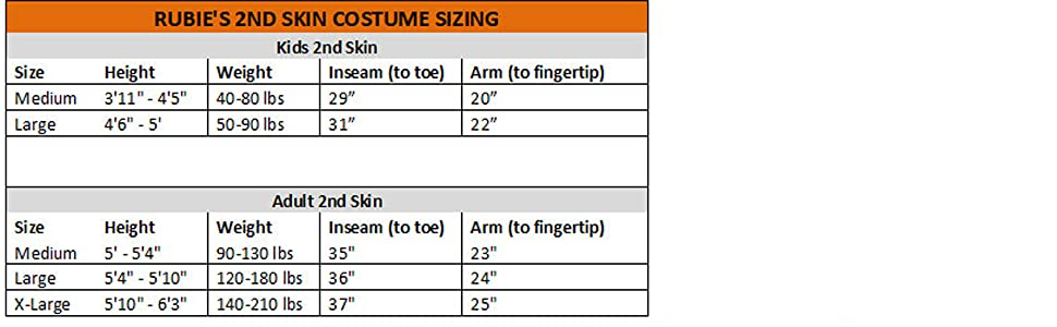 size chart for second skin bodysuit costume