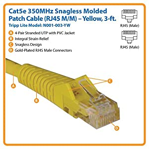 Tripp Lite Cat5e 350MHz Snagless Molded Patch Cable - Yellow RJ45 M//M N001-006-YW 6-ft.