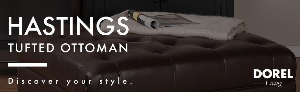 Sensational Hastings Brown Tufted Faux Leather Ottoman Brown Machost Co Dining Chair Design Ideas Machostcouk
