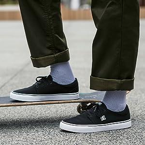 DC Womens Trase TX Skate Shoe 9 D D US Black//Black//Black
