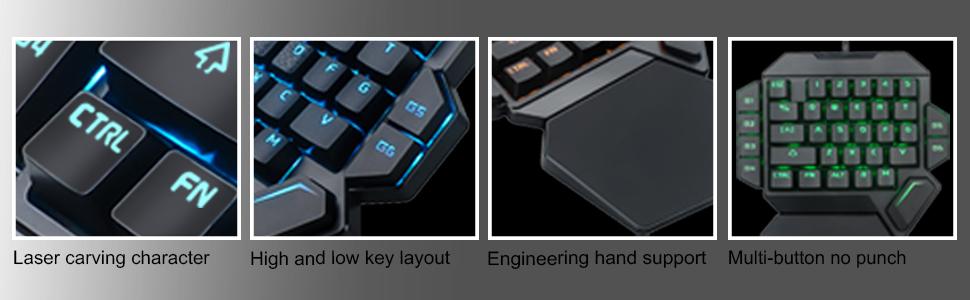 K50 RGB teclado de juego con cable 35 teclas con una sola mano interruptor azul LED retroiluminado teclado mecánico macro definición