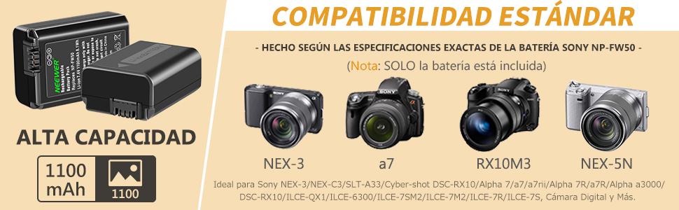 Neewer Set Cargador Batería Cámara NP-FW50 para Sony A6000 A6500 ...