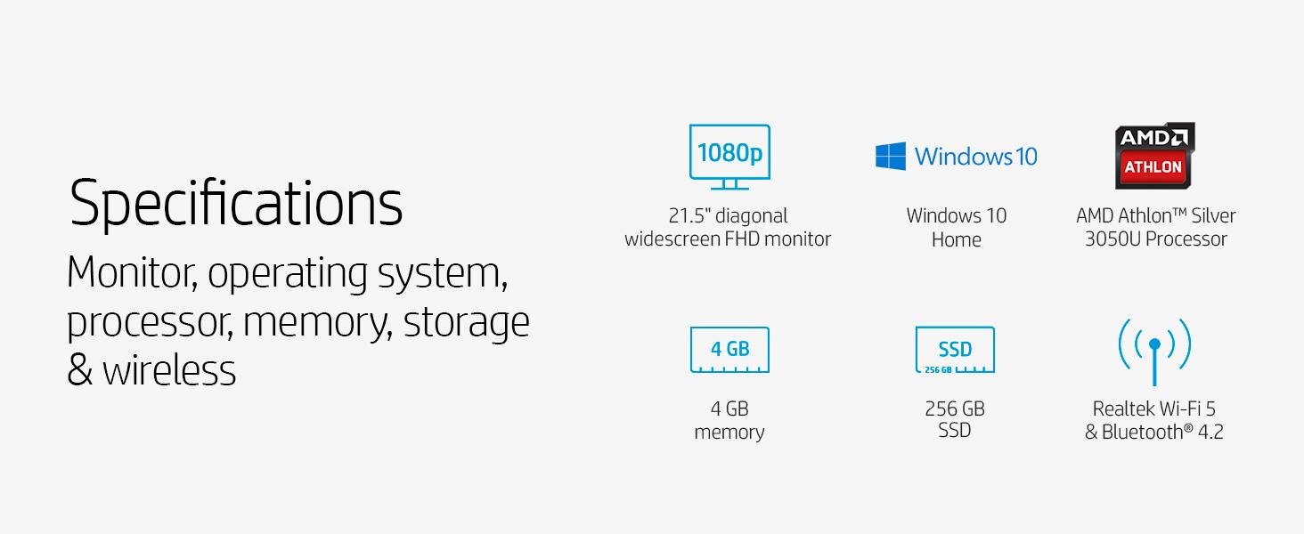 Specifications Silver 3050U Processor memory SSD bluetooth Realtek Wi-Fi 5