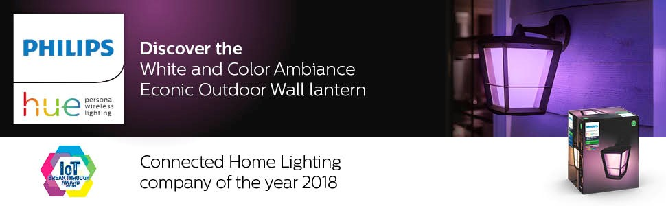 econic outdoor wall lantern, econic lantern, white and color ambiance outdoor light; outdoor lantern