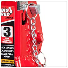 Torin BIG RED Steel Jack Stands: Double Locking, 3 Ton (6,000 lb) Capacity, Red, 1 Pair