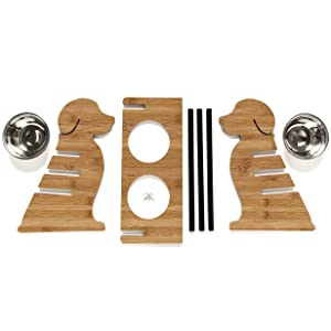 Puppy; Style; Bamboo; Veneer; Adjustable; Feeder; Stand; Easy; Assembly; Parts; Display