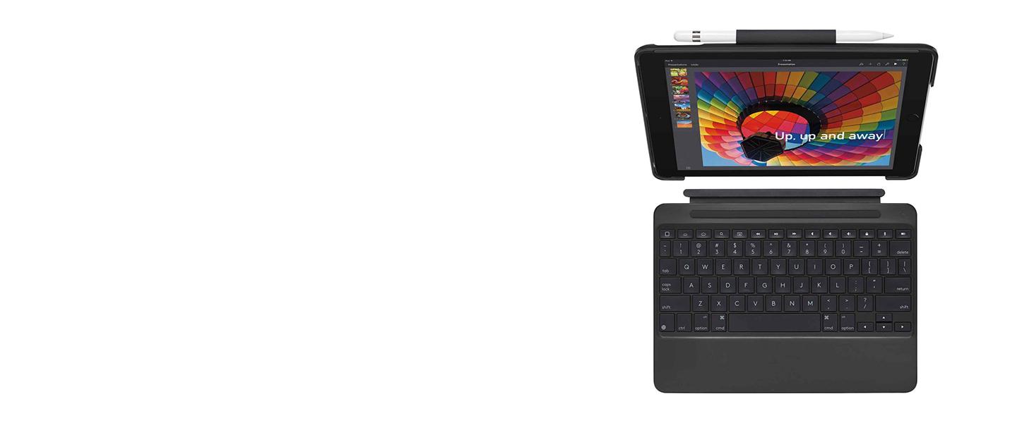 Logitech SLIM COMBO Tastatur f/ür Mobilger/äte Blau QWERTY UK Englisch Smart Connector Blau, PU-Kunststoff, Apple, iPad Pro 12.9, QWERTY, UK Englisch Tastaturen f/ür Mobilger/äte
