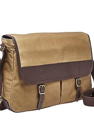 72b9bc6a034e Amazon.com  Fossil Men s Buckner Leather Trim Messenger Bag