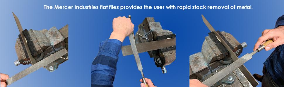 12 Pack Bastard Cut Mercer Industries BFLB04 Flat File 4 4