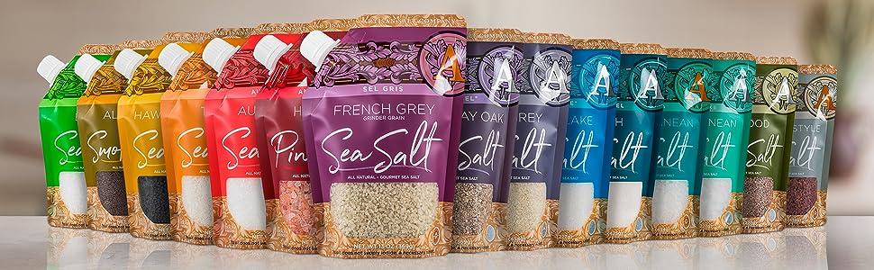 saltworks artisan salt pour spout pouch family