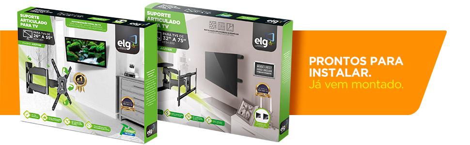 suporte tv, parede, elg, multiarticulado, articulado, tv suporte, montado, instalar