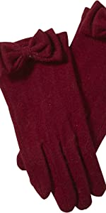Tickled Pink Women's Burgundy Harper Wool Bow Gloves