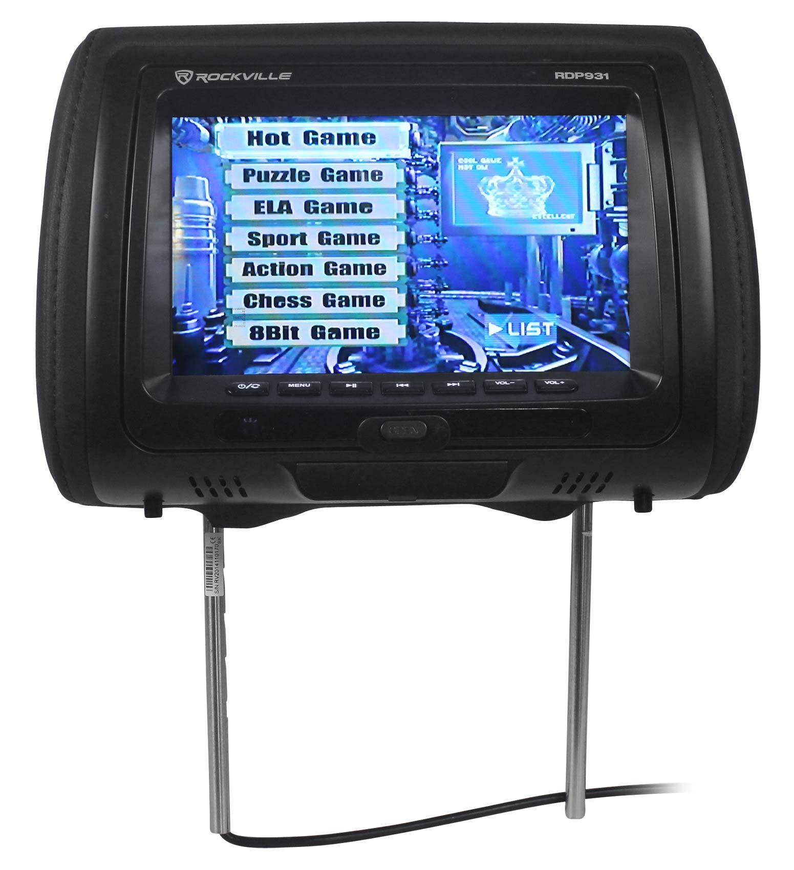 Rockville Rdp931 Bk 9 Black Car Dvd Usb Hdmi Headrest 2002 Chevy Impala Cigarette Lighter Wiring Diagram Monitors W Video Games