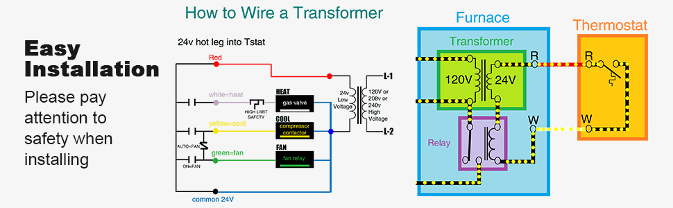 Control Transformer 40VA, Primary 120, 208, 240V Secondary 24V, HVAC Furnace  Multi Tap - - Amazon.com | Hvac Transformer Wiring Schematics |  | Amazon.com