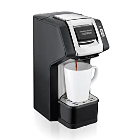 Hamilton Beach (49979) Single Serve Coffee Maker, Compatible with pod Packs and Ground Coffee, Flexbrew with Adjustable Brew Strength, Black
