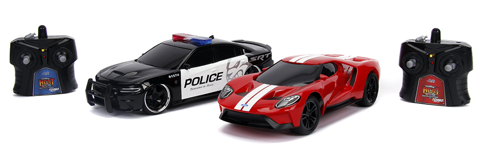 Jada Toys Hyperchargers Heat Chase Radio Control Vehicle Twin Pack with USB Charging (2Piece), 1: 16 Scale, 2015 Dodge Charger SRT Hellcat & 2017