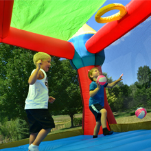 party castle bounce house removable sun roof basket ball hoop