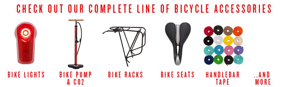 bike lights, bike pump and c02, bike racks, bike seats, handlebar tape