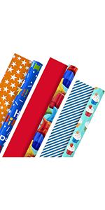 Bright red and blue wrapping paper for boys, kids, grandchildren, men, brothers, husbands & uncles