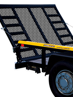 The Gorilla-Lift Tailgate Lift Assistance mounted on a black trailer