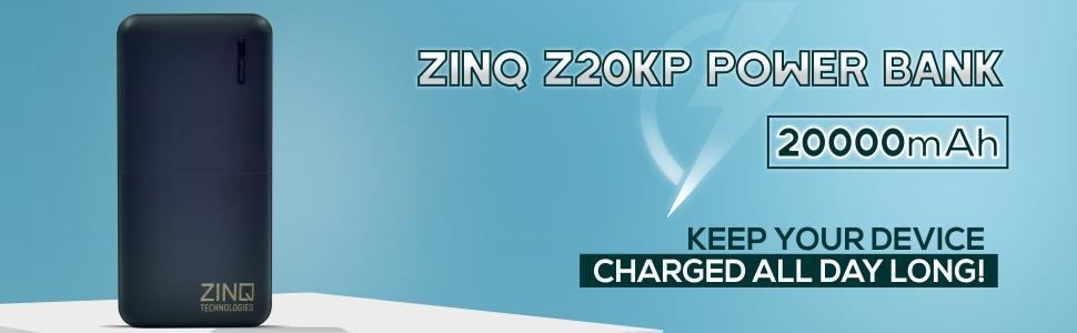 Zinq Technologies Z20KP 20000mAH Lithium Polymer Power Bank