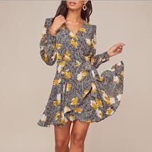 womens dresses, Long sleeve, wrap dress, v-neck, surplice, mini, ruffle, fashion, trend, patterened