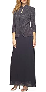 Jacquard Long Dress Mandarin-Neck Jacket