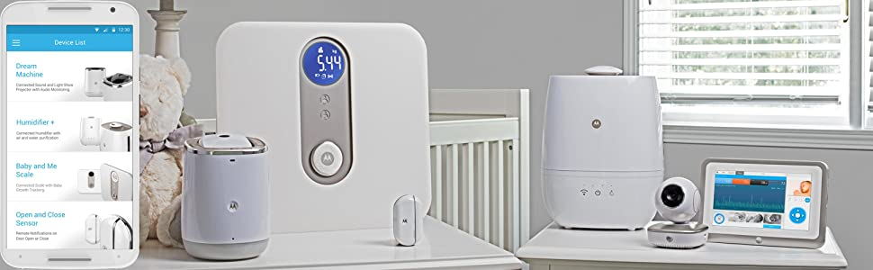 motorola baby smart nursery humidifier humidificateur connect avec purification de l 39 air et. Black Bedroom Furniture Sets. Home Design Ideas