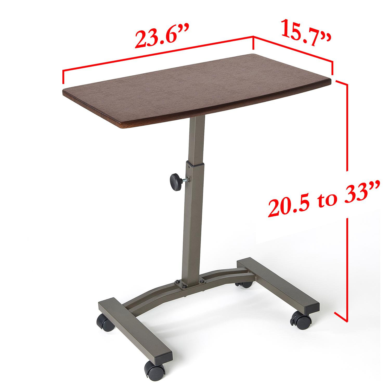 Rolling Laptop Desk Cart Stand Lift Adjustable Angle