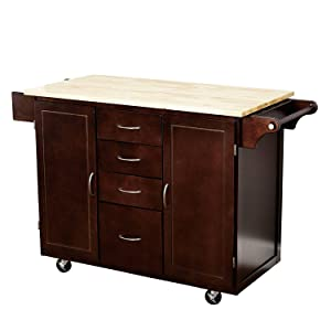 Target Marketing Systems Two-Toned Country Cottage Rolling Kitchen Cart  with 4 Drawers, 2 Cabinets, 1 Towel Rack, 1 Spice Rack, and an Adjustable  ...
