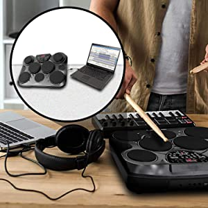 Electronic Table Digital Drum Kit Top w/ 7 Pad Digital Drum Kit
